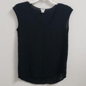 ❤J. CREW SHEER SLEEVELESS BLACK TOP, size 2